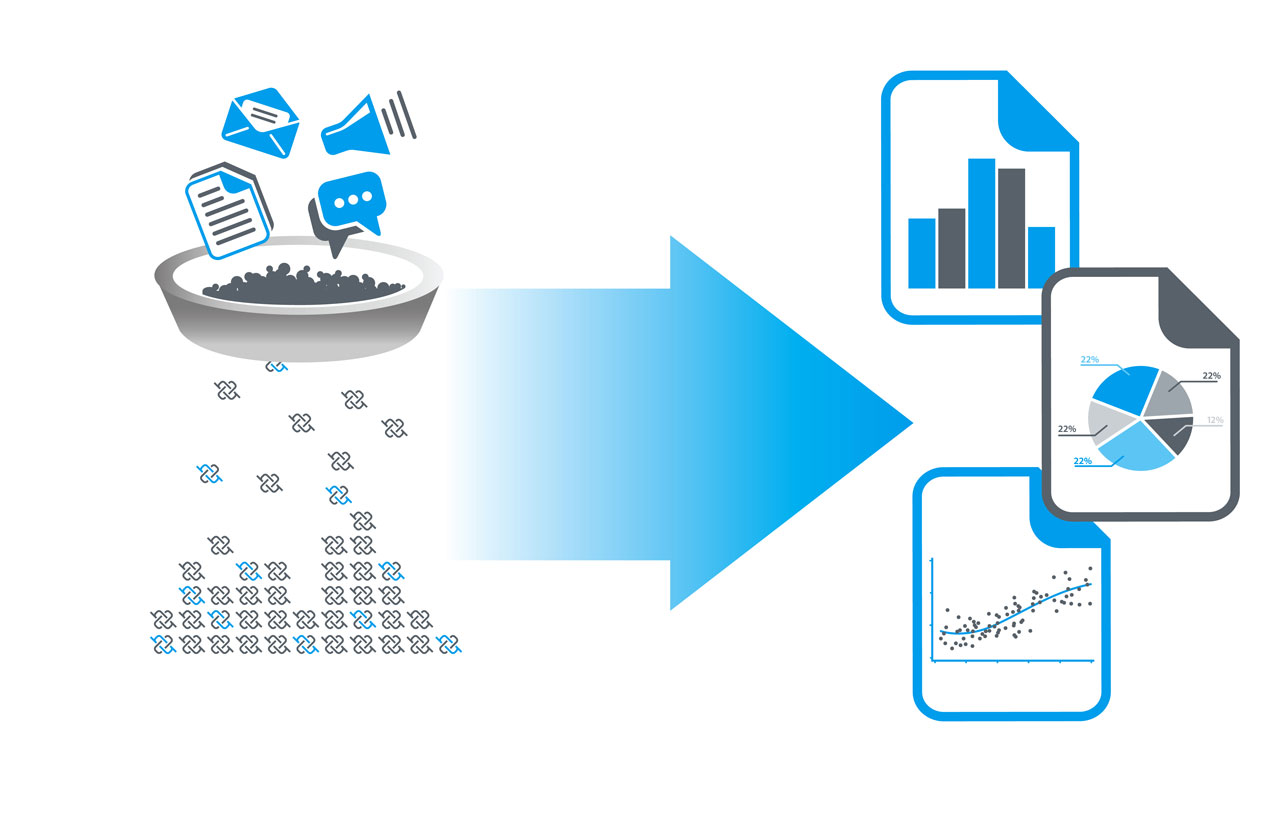 An illustration showing data extracted from new technologies.