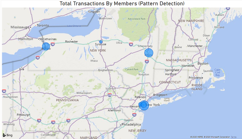 Map of the Northeast United States indicating the location of possible fraudulent transactions.